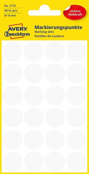 AVERY Zweckform 3170 selbstklebende Markierungspunkte 96 Stück (Ø18mm, Klebepunkte auf 4 Bogen, Punk