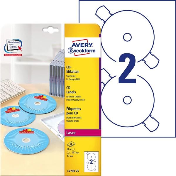 AVERY Zweckform L7760-25 selbstklebende CD-Etiketten (50 blickdichte CD-Aufkleber, Ø 117mm auf A4, S