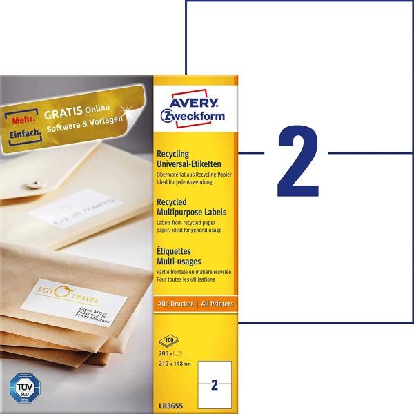 AVERY Zweckform LR3655 Recycling Etiketten (200 Klebeetiketten, 210x148mm auf A4, 100% recyceltes Al