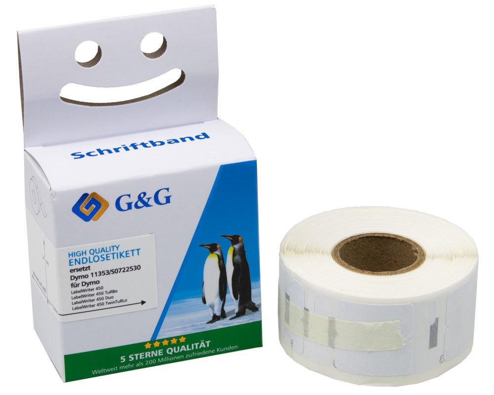 G&G Schriftband kompitabel zu Dymo D1/11353/S0722530 (1.000m auf 24mm x 12mm) schwarz auf weiß (ablö