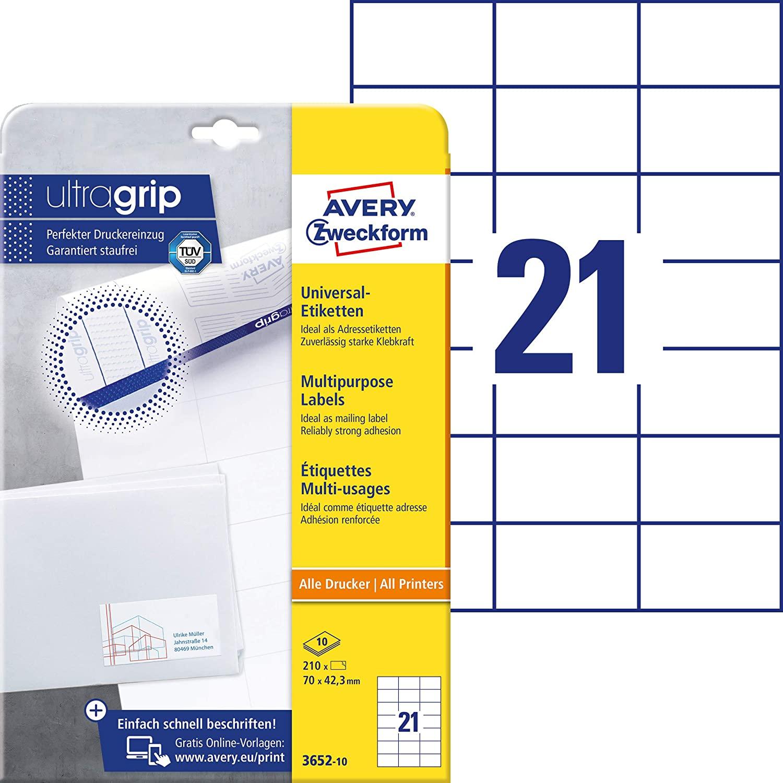 AVERY Zweckform 3652-10 Adressaufkleber (mit ultragrip, 70 x 42,3 mm auf DIN A4, Papier matt, bedruc