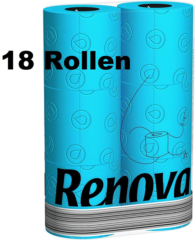 18 Rollen RENOVA Blaues Toilettenpapier - BLAU in Folie