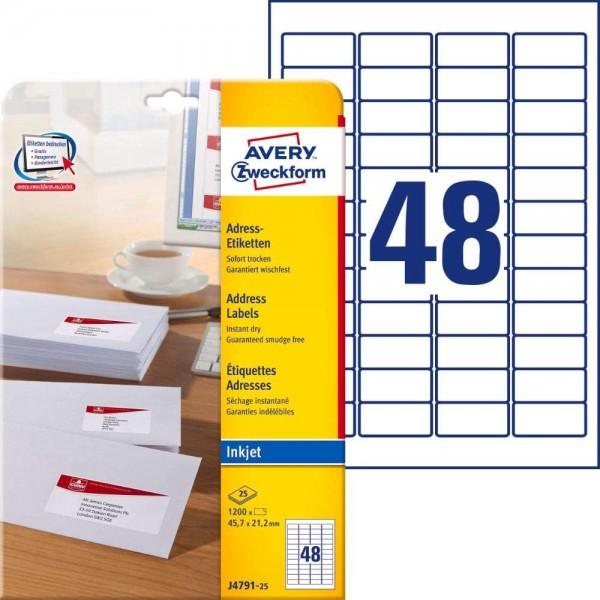 AVERY Zweckform J4791-25 Adressetiketten/Adressaufkleber (1.200 Etiketten, 45,7x21,2mm auf A4, bedru