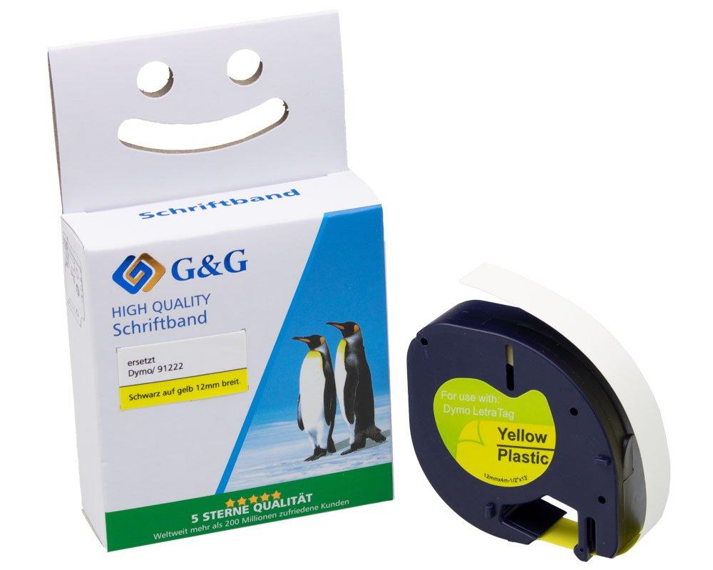 G&G Schriftband kompatibel zu Dymo D1/91222/S0721670 (12mm x 4m) schwarz auf gelb KUNSTSTOFF