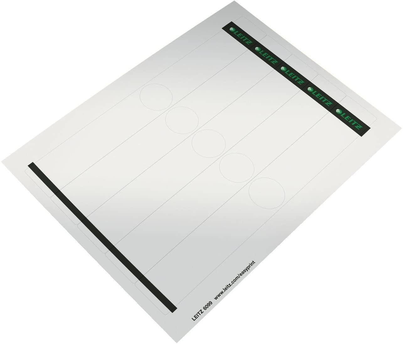 Leitz 60990085 Rückenschild selbstklebend PC, Papier, schmal, 125 Stück, grau