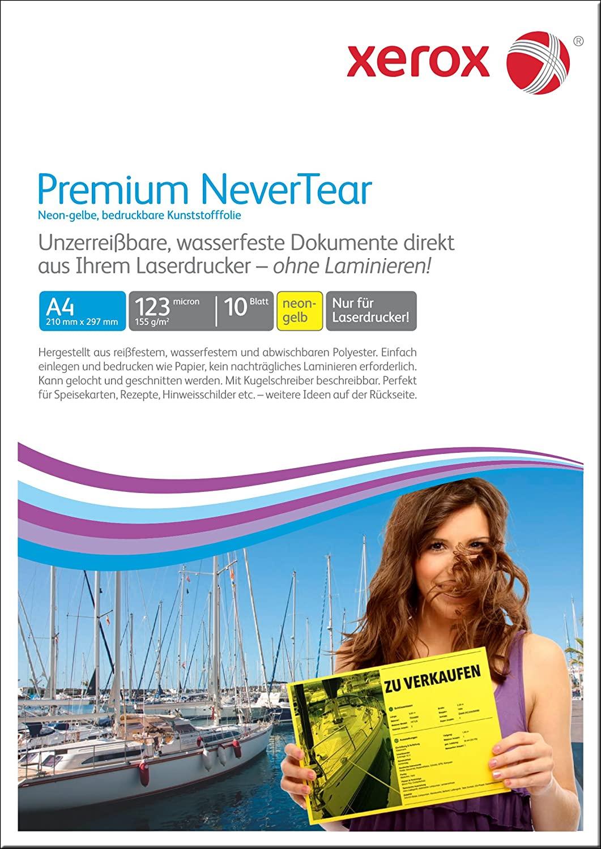 xerox Laserfolien Premium NeverTear 003R98128 leuchtend gelb matt A4 10 Blatt