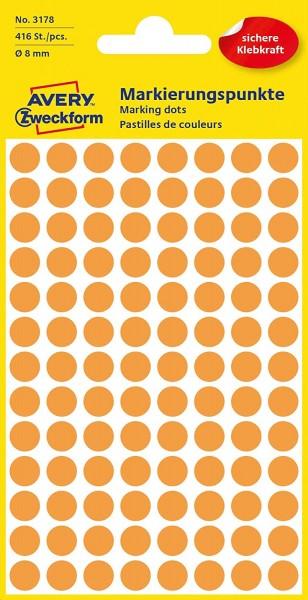 AVERY Zweckform 3178 selbstklebende Markierungspunkte (Ø 8 mm, 416 Klebepunkte auf 4 Bogen, runde Au