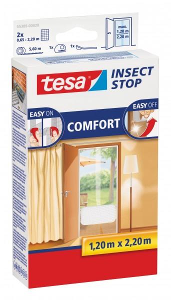 tesa Fliegengitter Comfort Klettband Tür 2 x 0,65 m : 2,2 m, weiß