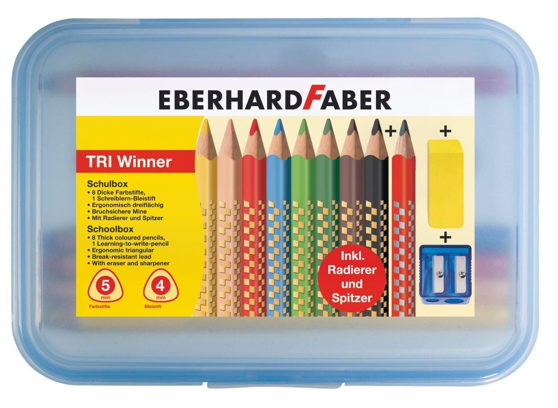 EberhardtFaber TRI Winner Schulbox, 11-teilig Farbstifte Bleistift Radiergummi Spitzer