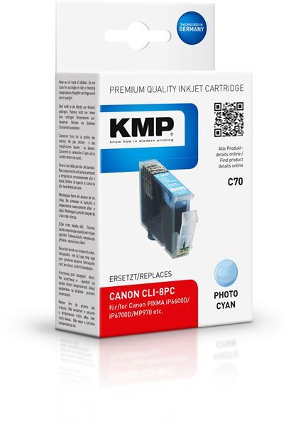 KMP Patrone C70 komp. CLI-8PC Canon PIXMA iP6600D foto cyan