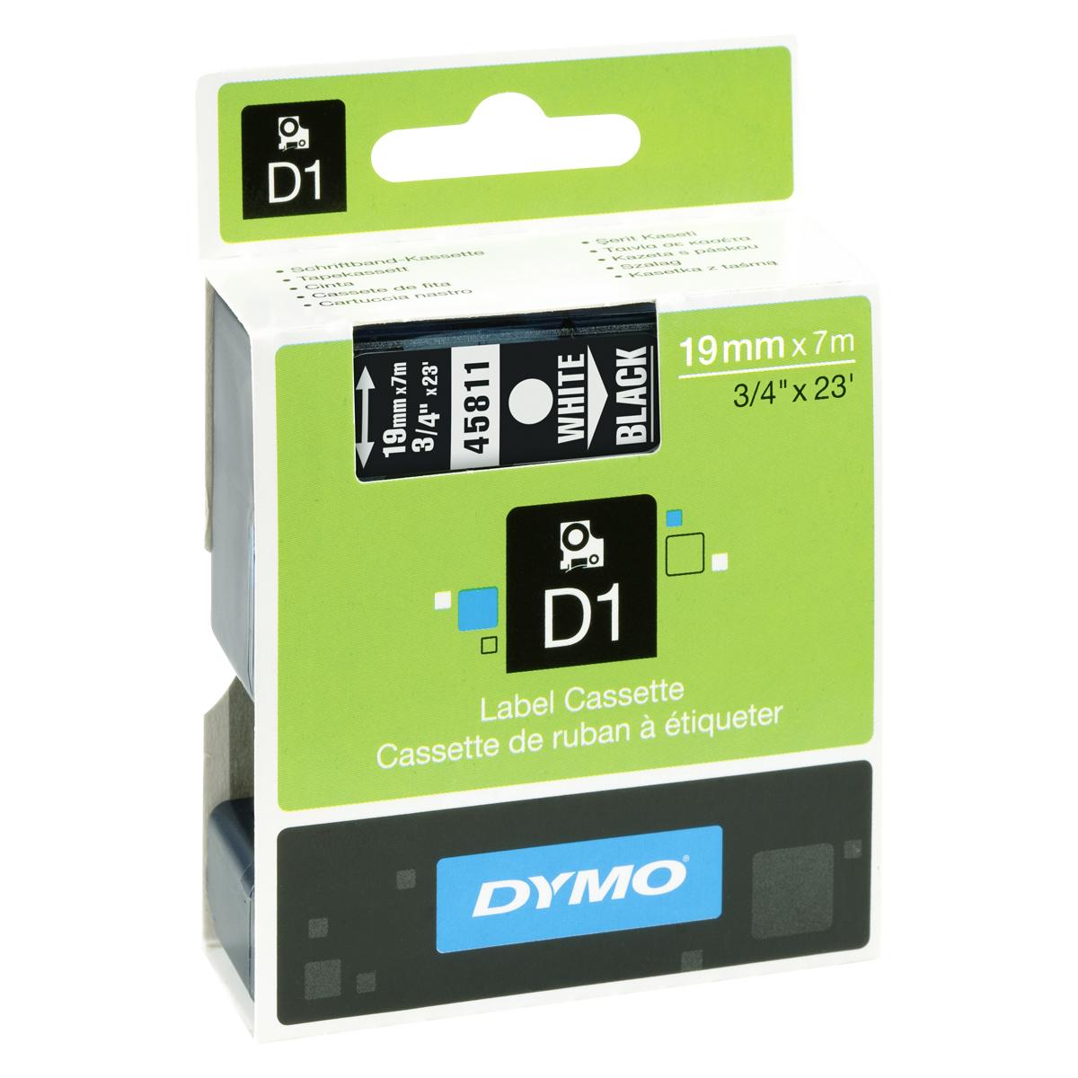 Dymo D1-Schriftband 19mm x 7m weiß auf schwarz
