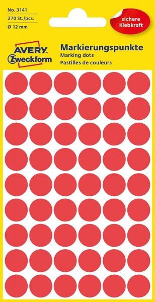 AVERY Zweckform 3141 selbstklebende Markierungspunkte 270 Stück (Ø12mm, Klebepunkte auf 5 Bogen, Pun