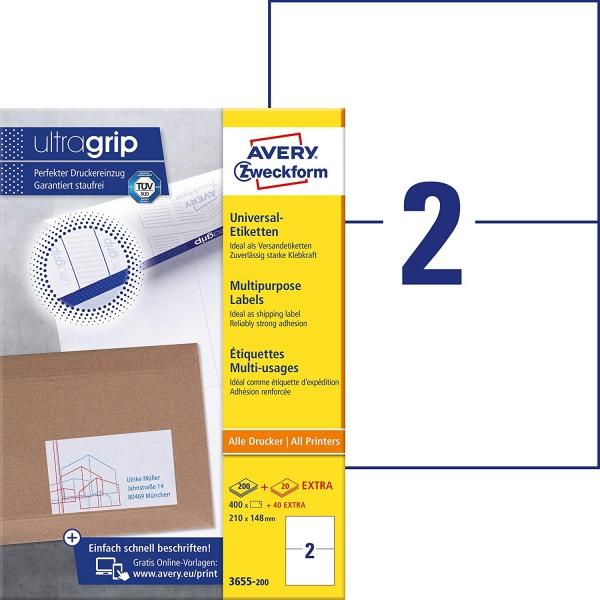 AVERY Zweckform 3655-200 Universal Etiketten (400 plus 40 Klebeetiketten extra, 210x148mm auf A4, be