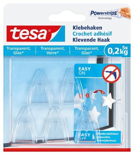 tesa Klebehaken transparent, Glas, 5 x 0,2 kg