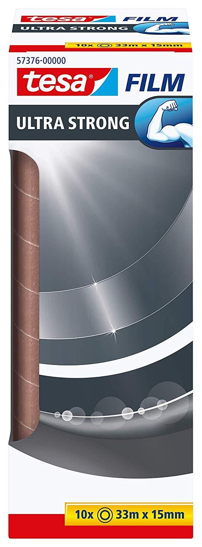 tesafilm Ultra Strong 10 Rollen Premium-PVC-Klebefilm (transparent, 33m:15mm, zum sicheren Verschlie