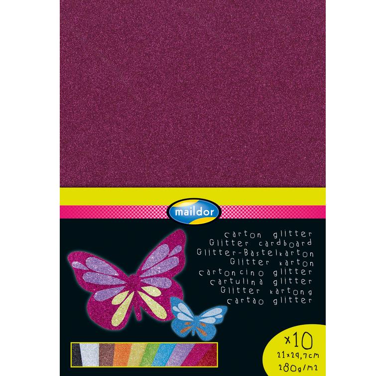 Maildor Glitterkarton 280 g/m² DIN-A4 10 Farbtönen