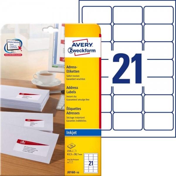 AVERY Zweckform J8160-10 Adressetiketten/ Adressaufkleber (210 Etiketten, 63,5x38,1mm auf A4, bedruc