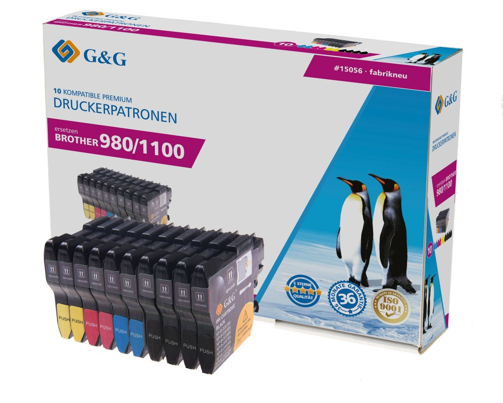 G&G Tinte ersetzt Brother LC-980 / LC-1100 Kompatibel 10er-Pack Schwarz, Cyan, Magenta, Gelb 15056