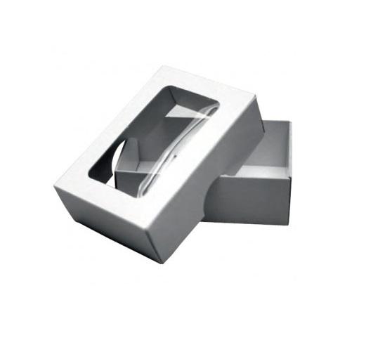 Visitenkartenbox 2-teilig für 100 Karten mit Folienfenster 9cm x 5,8cm x3cm - 400g/m²