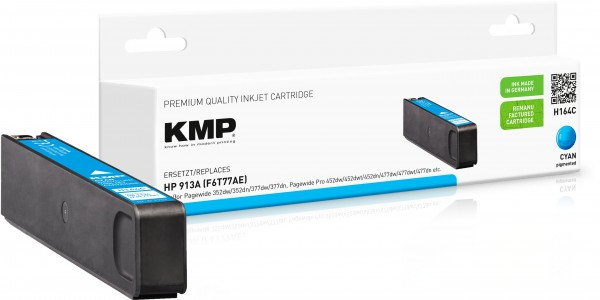 KMP H164C cyan Tintenpatrone ersetzt HP OfficeJet Pro HP913XL (F6T77AE)