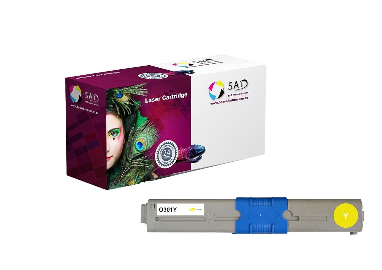 SAD Premium Toner komp. zu OKI 44973533 - C301, C321 Serie yellow ca. 1.500 Seiten