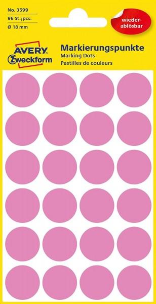 AVERY Zweckform 3599 selbstklebende Markierungspunkte (Ø 18 mm, 96 ablösbare Klebepunkte auf 4 Bogen