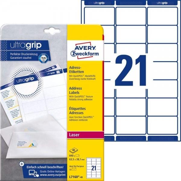 AVERY Zweckform L7160-40 Adressetiketten/Adressaufkleber (840 Etiketten mit ultragrip, 63,5x38,1mm a
