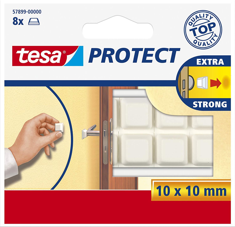 Tesa Protect Schutzpuffer, quadratisch, weiß, 10mm:10mm, 8 Stück