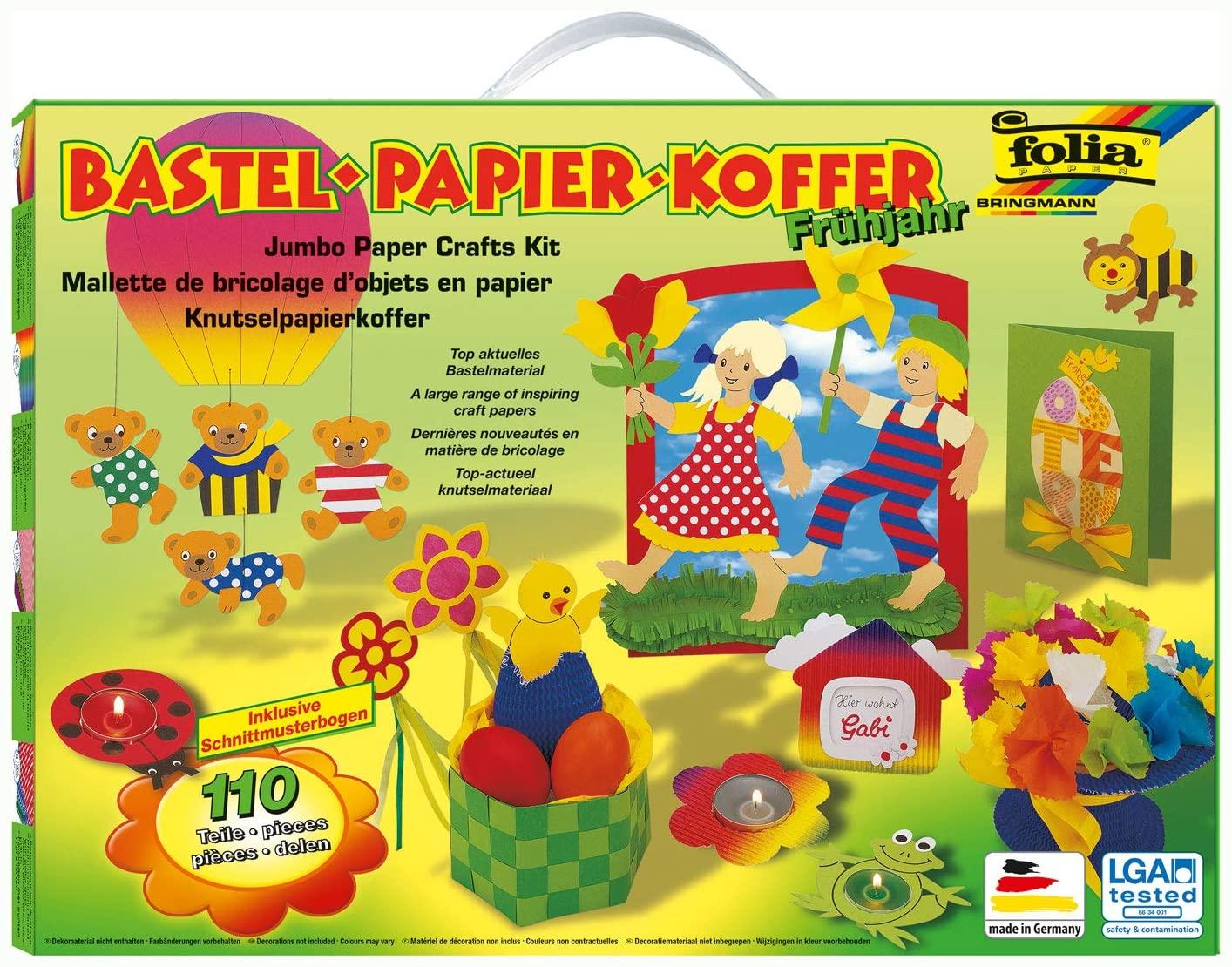 folia 933 - Bastelpapierkoffer Frühjahr und Ostern, 110 Teile - Kreativset für Kinder und Erwachsene