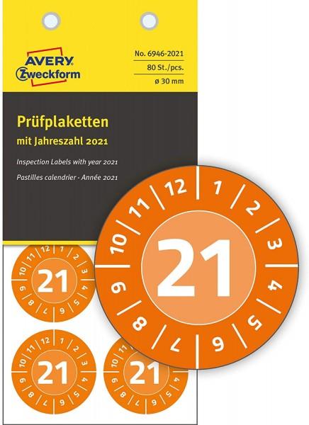 AVERY Zweckform 6946-2021 fälschungssichere Jahres-Prüfplaketten 2021 (stark selbstklebend, Kleinfor