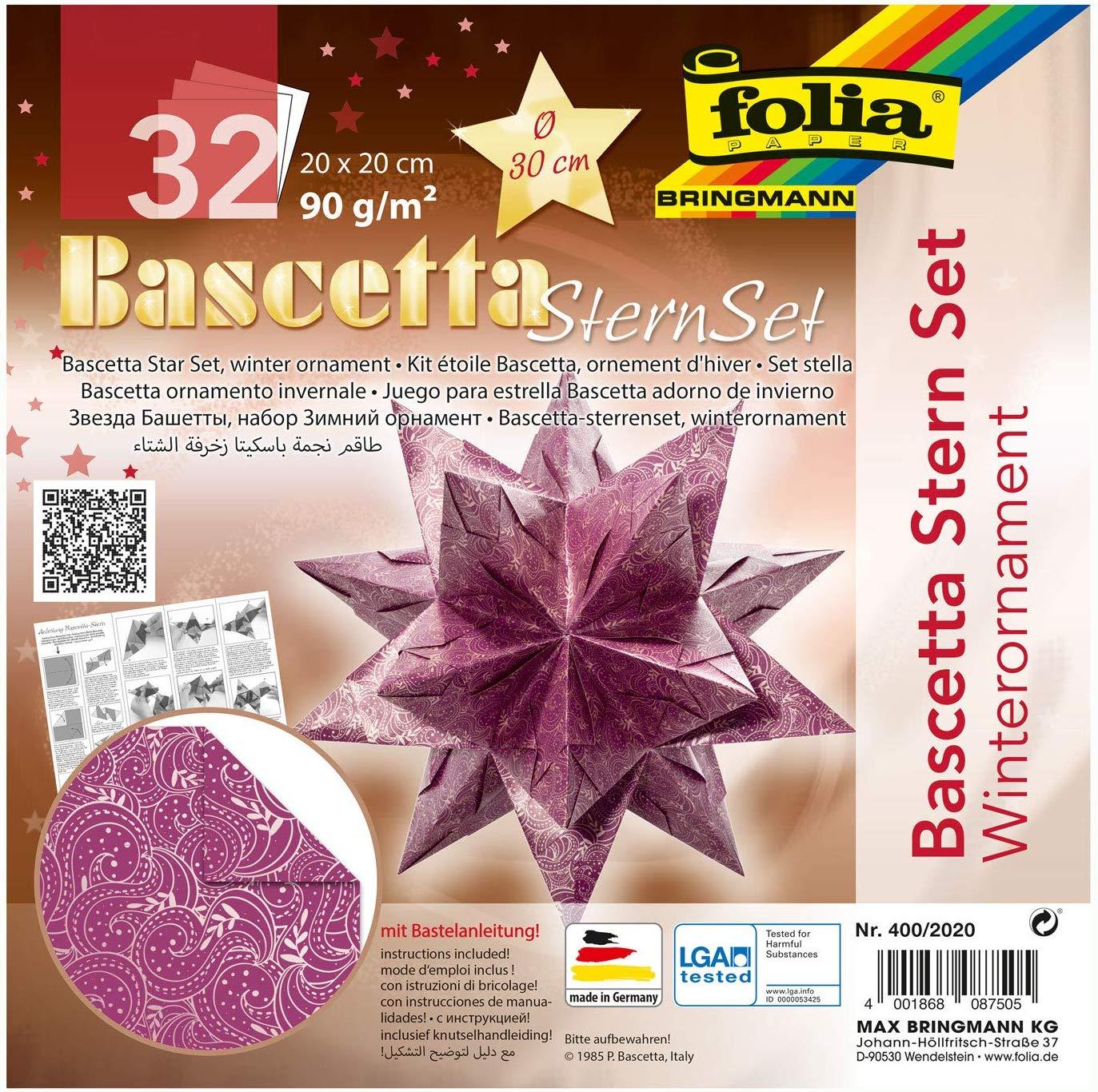 folia 400/2020 - Bastelset Bascetta Stern Winterornament lila/silber, 32 Blatt, 20 x 20 cm, fertige