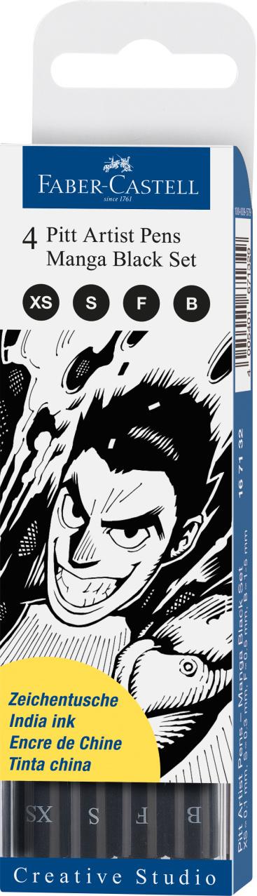 Faber-Castel Manga Set Pitt Artist Pen Black Set 4er Etui