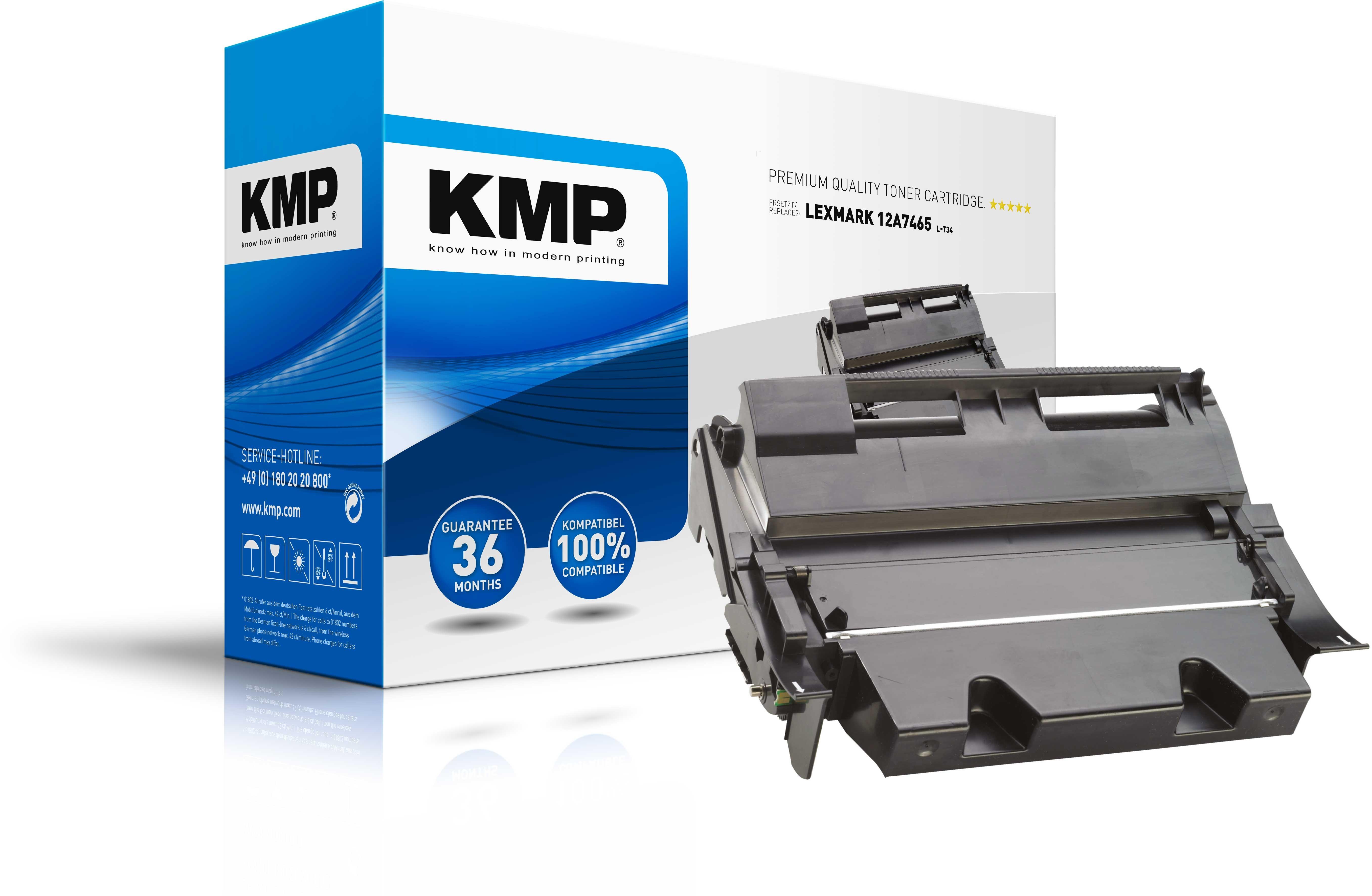KMP Lexmark Toner für 12A7465 T632 / T634 schwarz L-T34