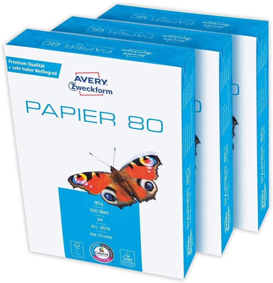 Avery Zweckform 2574 Druckerpapier, Kopierpapier (1.500 Blatt, 80 g/m², DIN A4 Papier, hochweiß, für