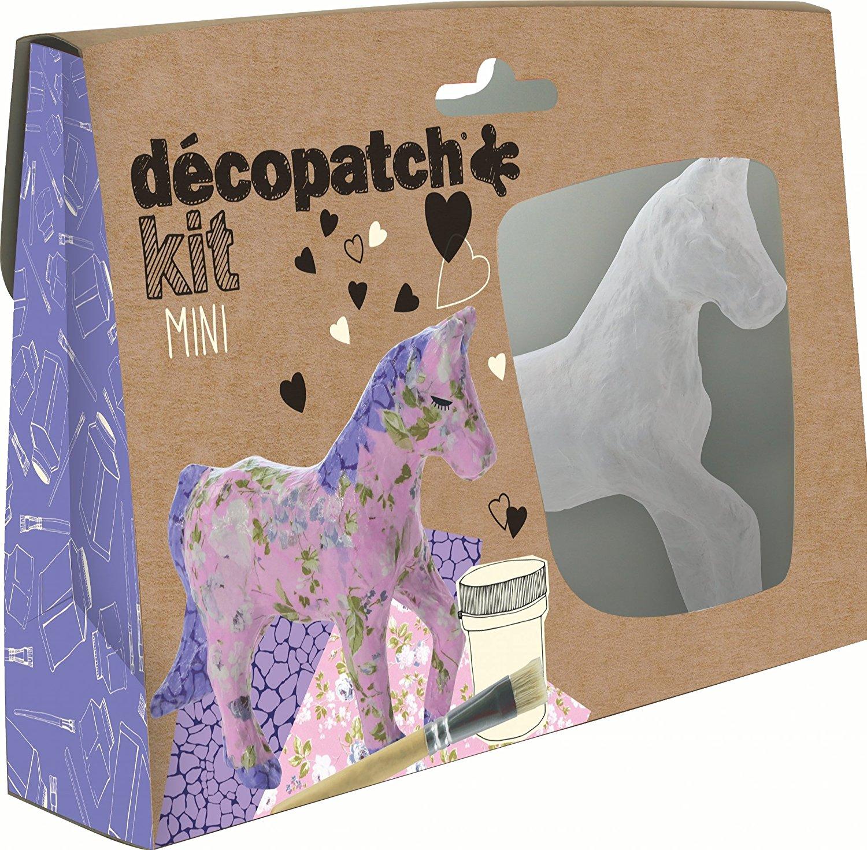 Décopatch Bastel Set Pappmaché Mini Pferd (ideal für Kinder, 19 x 13,5 x 3,5 cm) lila, rosa