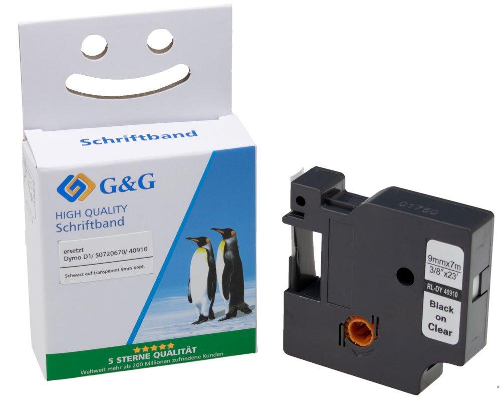 G&G Schriftband kompatibel zu Dymo D1/ 40910/ S0720670 (9mm x 7m) schwarz auf transparent