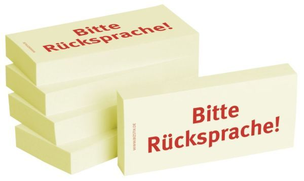 BIZSTIX Bedruckte Haftnotizen- Text: BItte Rücksprache!