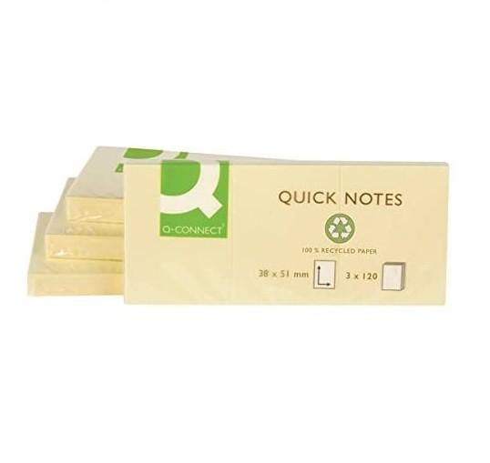 Q-Connect® Haftnotizen Recycling - 38 x 51 mm, gelb, 12 Stück