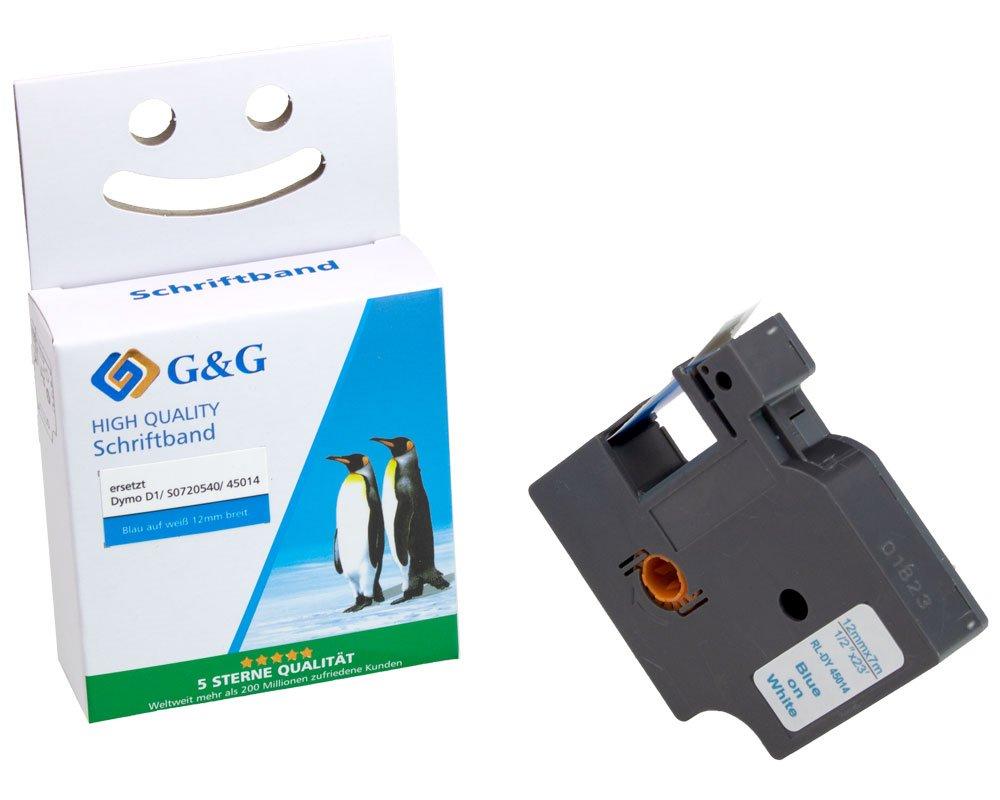 G&G Schriftband kompatibel zu Dymo D1/ 45014/ S0720540 (12mm x 7m) blau auf weiß