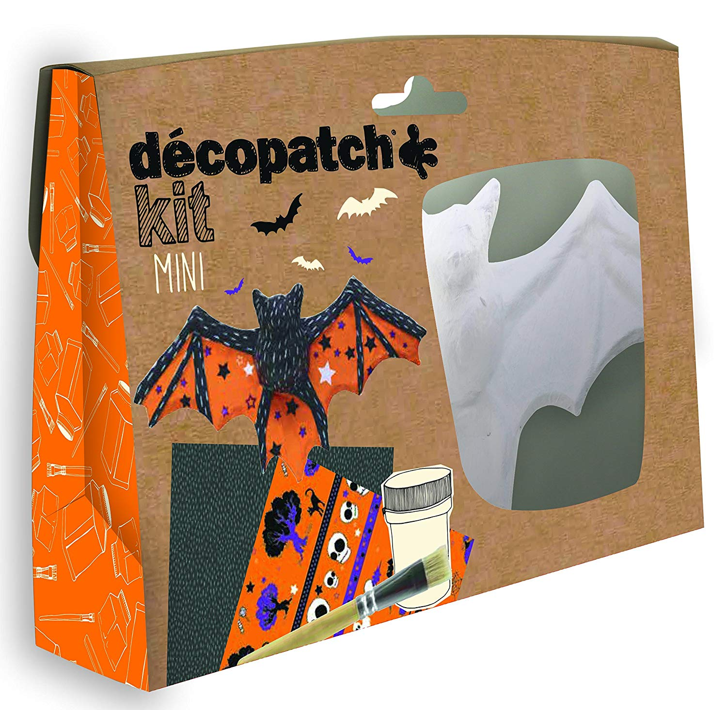 Vorschau: Décopatch Bastel Set Pappmaché Mini Fledermaus (ideal für Helloween u. Kinder, 19 x 13,5 x 3,5 cm) o