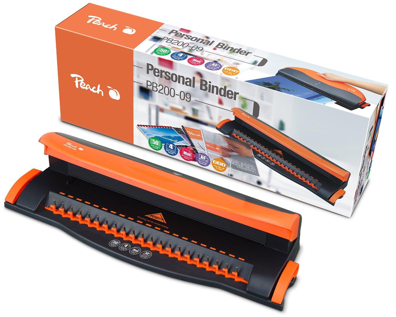 Peach PB200-09 Plastikbindegerät | Personal Binder DIN-A4 | bindet 50 Blatt | max. 12 mm Binderücken