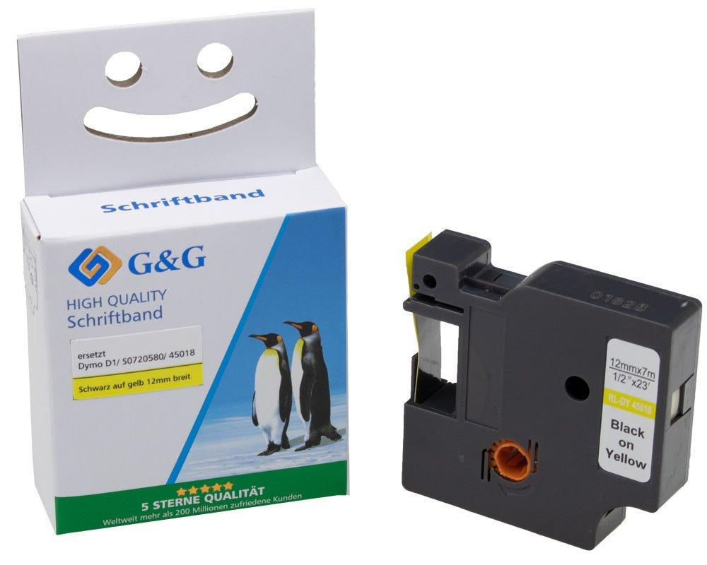 G&G Schriftband kompatibel zu Dymo D1/ 45018/ S0720580 (12mm x 7m) schwarz auf gelb