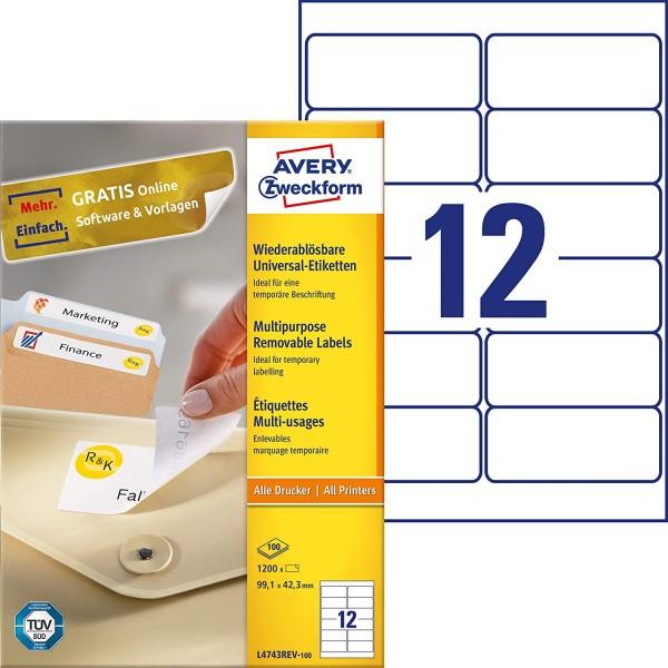 AVERY Zweckform L4743REV-100 Universal Etiketten (1.200 Klebeetiketten, 99,1x42,3mm auf A4, wieder r
