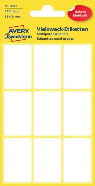 Avery Zweckform 3045 Haushaltsetiketten selbstklebend (38 x 24 mm, 96 Aufkleber auf 7 Bogen, Vielzwe
