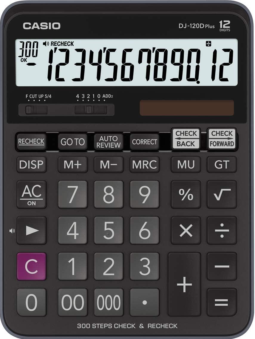 CASIO DJ-120D Plus Tischrechner groß 12-stellig mit Check & Correct Funktion