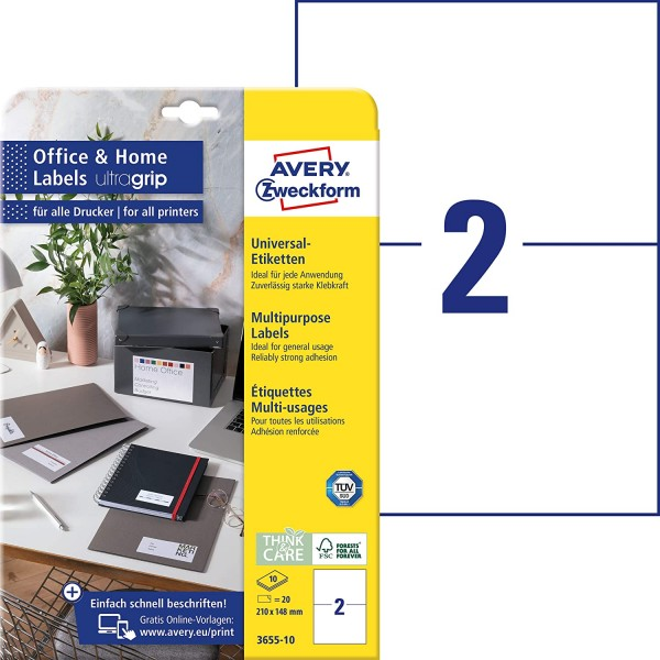 AVERY Zweckform 3655-10 Universal Etiketten (20 Adressaufkleber, 210x148mm auf A4, bedruckbare Versa