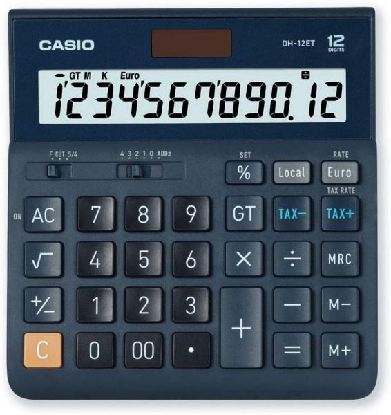 CASIO Tischrechner DH-12ET, 12-stellig, Steuerberechnung, Gesamtsummen-Speicher, Solar-/Batteriebetr