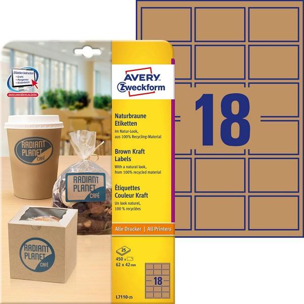 AVERY Zweckform L7110-25 Kraftpapier (zum Bedrucken, selbstklebend, 62x42 mm, 450 eckige Aufkleber a