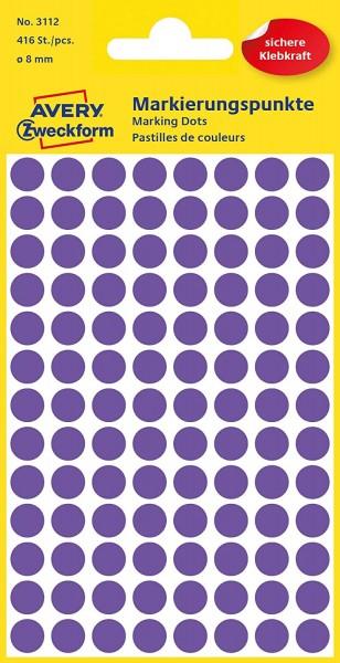 AVERY Zweckform 3112 Selbstklebende Markierungspunkte, Violett (Ø 8 mm; 416 Klebepunkte auf 4 Bogen;