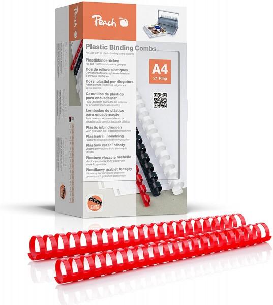 Peach PB432-03 Binderücken, Plastikbindung, DIN A4, Bindekapazität 310 Seiten, 50 Stück Rot